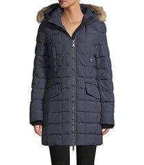 square quilted down-blend & fox fur-trim coat