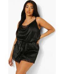 plus romper pyjama met kanten zoom, black
