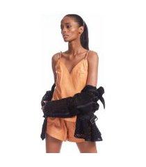blusa de couro selaria laranja bronze - 44