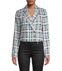 bcbgmaxazria women's modern cropped blazer - green multi - size xs