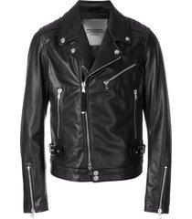 diesel black gold fitted biker jacket