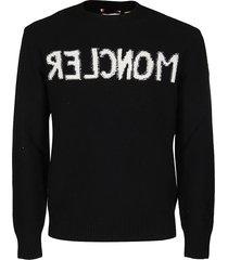 moncler black virgin wool-blend sweatshirt