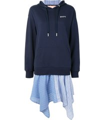 bapy by *a bathing ape® layered hooded sweatshirt dress - blue