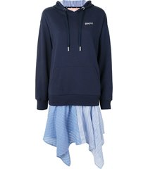 bapy layered hooded sweatshirt dress - blue