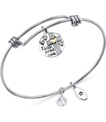 unwritten two-tone faith disc bangle bracelet in stainless steel with silver plated