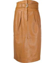 alberta ferretti belted waist skirt - neutrals