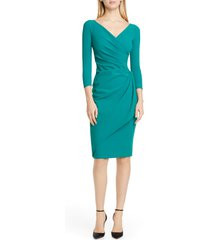 chiara boni la petite robe charisse ruched long sleeve cocktail dress, size 8 us in jade at nordstrom