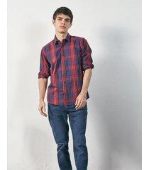 camisa bordó prototype tartan