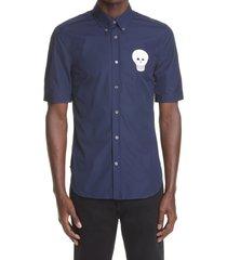 alexander mcqueen crochet skull short sleeve button-down cotton shirt, size 16 in ink blue at nordstrom