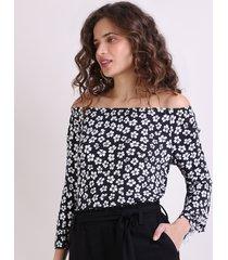 blusa feminina ombro a ombro estampada floral manga 7/8 preto
