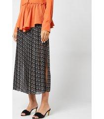 see by chloé women's pleated midi skirt - black/white - fr 42/uk 14 - black