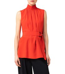 akris punto smocked neck belted silk top, size 14 in red currant at nordstrom