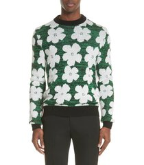 men's calvin klein 205w39nyc andy warhol flower sweater, size xx-large - green