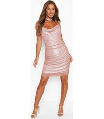 petite geplooide mesh mini jurk, mauve