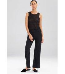sleek lace tank pajamas, women's, black, silk, size s, josie natori