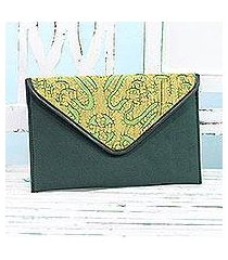 leather accent cotton tablet case, 'traveling style in pine green' (india)