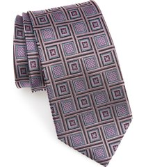 men's nordstrom geometric silk tie, size regular - pink