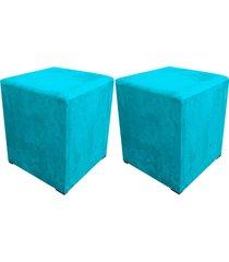 kit 02 puff decorativo dado quadrado suede azul tiffany - d'rossi