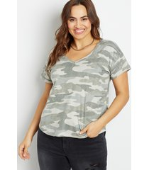 maurices plus size womens 24/7 camo drop shoulder classic tee green