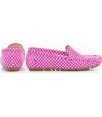 skórzane mokasyny zapato 001 fuksja kwadraty