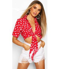 ditsy floral short sleeve blouse, red