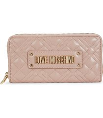 love moschino women's quilted logo faux leather wallet - pink