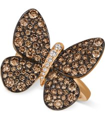le vian chocolatier chocolatier diamond butterfly ring (1-7/8 ct. t.w.) in 14k rose gold