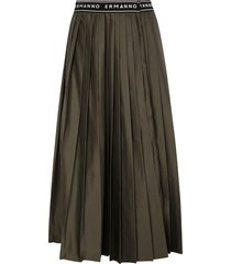 ermanno scervino logo waist pleated long skirt
