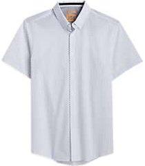 joe joseph abboud white square short sleeve slim fit sport shirt