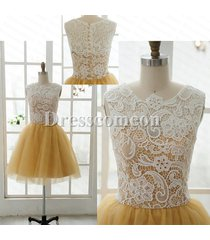 new ball gown scoop sleeveless yellow short lace bridesmaid dress/formal dress