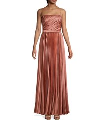 theia women's pleated charmeuse gown - sienna - size 4
