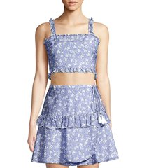 kisuii women's romy floral cropped top - blue - size l