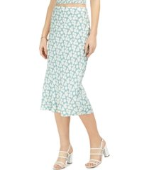 bcx juniors' daisy-print bias-cut midi skirt