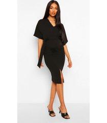 zwangerschaps midi jurk met ceintuur en kimono mouwen, black