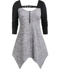 plus size asymmetrical two tone zippered t shirt
