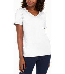 karen scott cotton scalloped v-neck t-shirt, created for macy's