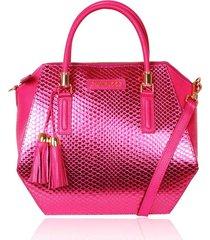 bolsa tiracolo campezzo couro pink metalizado lady