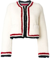 thom browne zip up cardigan jacket with red, white and blue intarsia