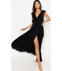 chiffon maxi bruidsmeisjes jurk met franjes en wikkel detail, zwart