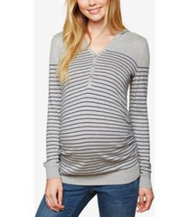 motherhood maternity striped henley sweater