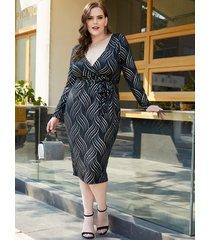 yoins plus tamaño amarre negro diseño geométrico vestido