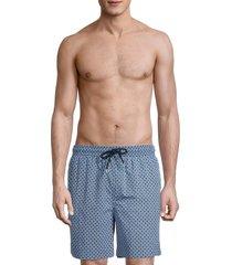 brooks brothers men's geometric-print swim shorts - blue - size s