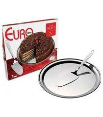 conjunto para bolo 2 peças inox euro