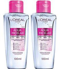 kit loréal paris 2 águas micelar solução de limpeza facial 5 em 1 100ml