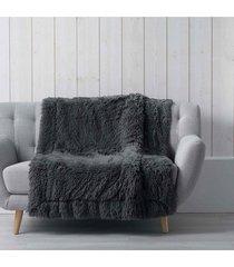koc pled narzuta fluffy szara 125x150 cm