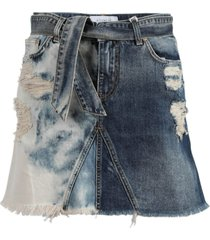 distressed belted denim skirt
