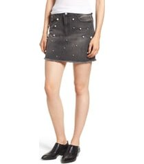 women's tinsel imitation pearl embellished denim skirt