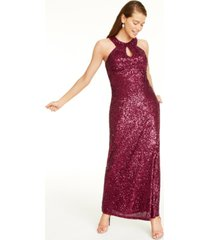 morgan & company juniors' cutout sequined gown