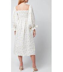 sleeper women's atlanta linen dress - white & yellow - s