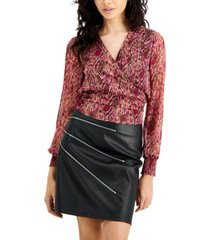 bar iii snake-embossed wrap top, created for macy's